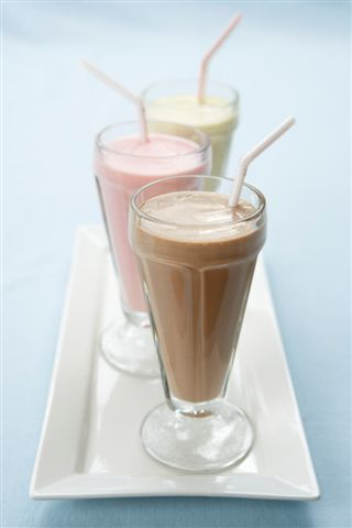 picture of milk shakes which are an excellent source of extra calcium and calories for those seniors who need to gain weight.